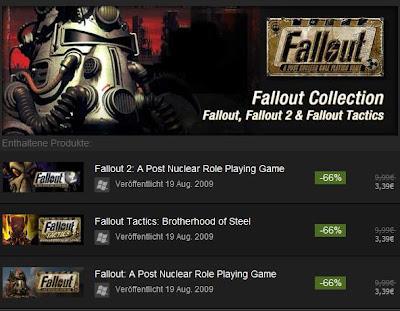 Fallout Collection (Fallout, Fallout 2, Fallout Tactics) bei Steam 6,79 Euro