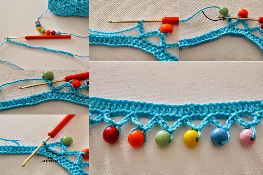 Puntilla al crochet combinada con perlas | Crochet y Dos agujas ...