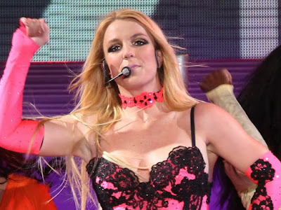 Britney Spears hot cleavage in performs on stage in Moscow