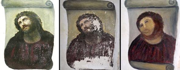 terrible restauración de un Ecce Homo del siglo XIX en la localidad de Borjas perpetrada por una anciana de 80 años