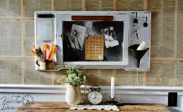 Repurposed Antique Sewing Machine Table into Magnetic Memo Board Command Station via Knick of Time