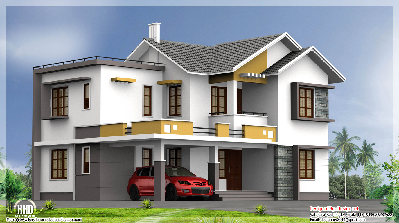 2400 double floor indian house plan kerala home for Indian house outlook design