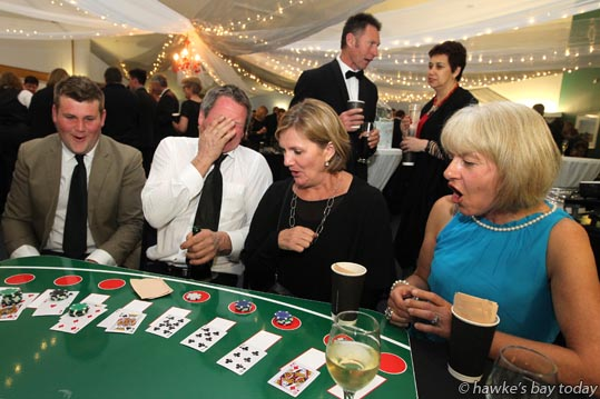 "L-R: Sean Baty, David Phillips, Megan Boaler, Robyn Stallard, all from Havelock North, at a ""CF Casino Night - Viva Las Vegas"", at Havelock North Function Centre, organised by Hawke's Bay Branch of Cystic Fibrosis Association photograph"