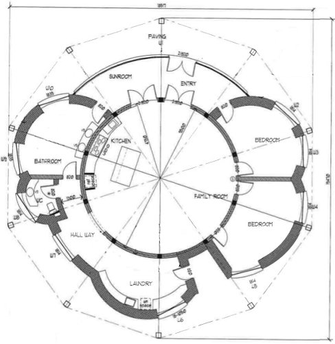 Building the round strawbale house the design for Circular house floor plans