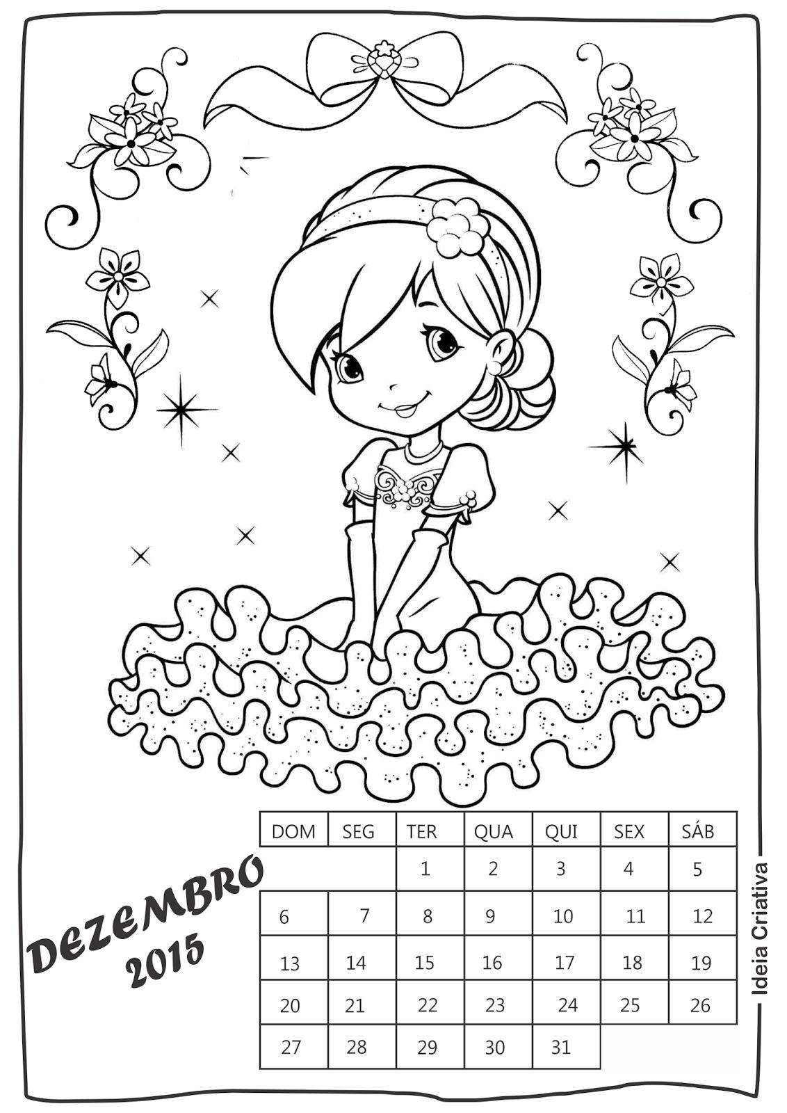 Calendário Dezembro Moranguinho para imprimir e colorir