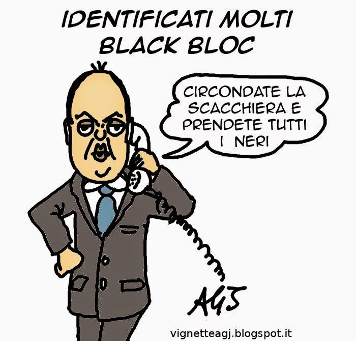 black bloc, alfano, milano, vignetta , satira
