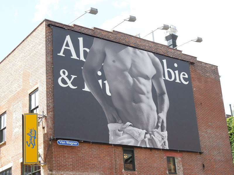 Abercrombie Fitch male torso billboard