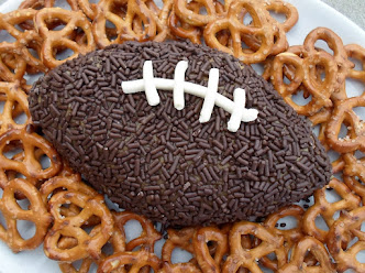football shaped peanut butter dip