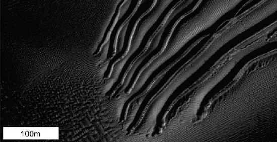 surcos en dunas de Marte