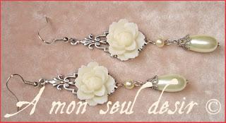 boucles d'oreilles fleur blanche floral mariage victorien romantique bijou elfique victorian wedding romantic white flower earrings elven jewel