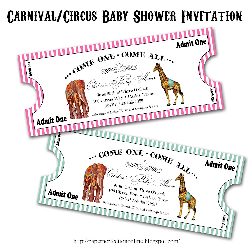 Paper Perfection: Carnival / Circus Baby Shower Invitation