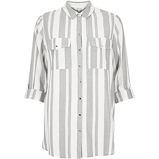 river island stripe shirt, grey & white stripe shirt,