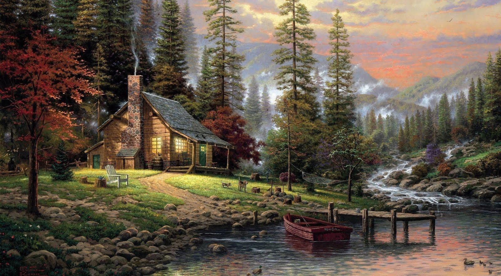 PAISAJES  PARA ESCAPARSE - Página 3 Pintura-de-un-hermoso-paisaje-con-caba%25C3%25B1a-junto-al-rio-y-las-monta%25C3%25B1as-2560x1412