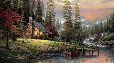 Paisaje con cabaña y un hermoso río junto al bosque