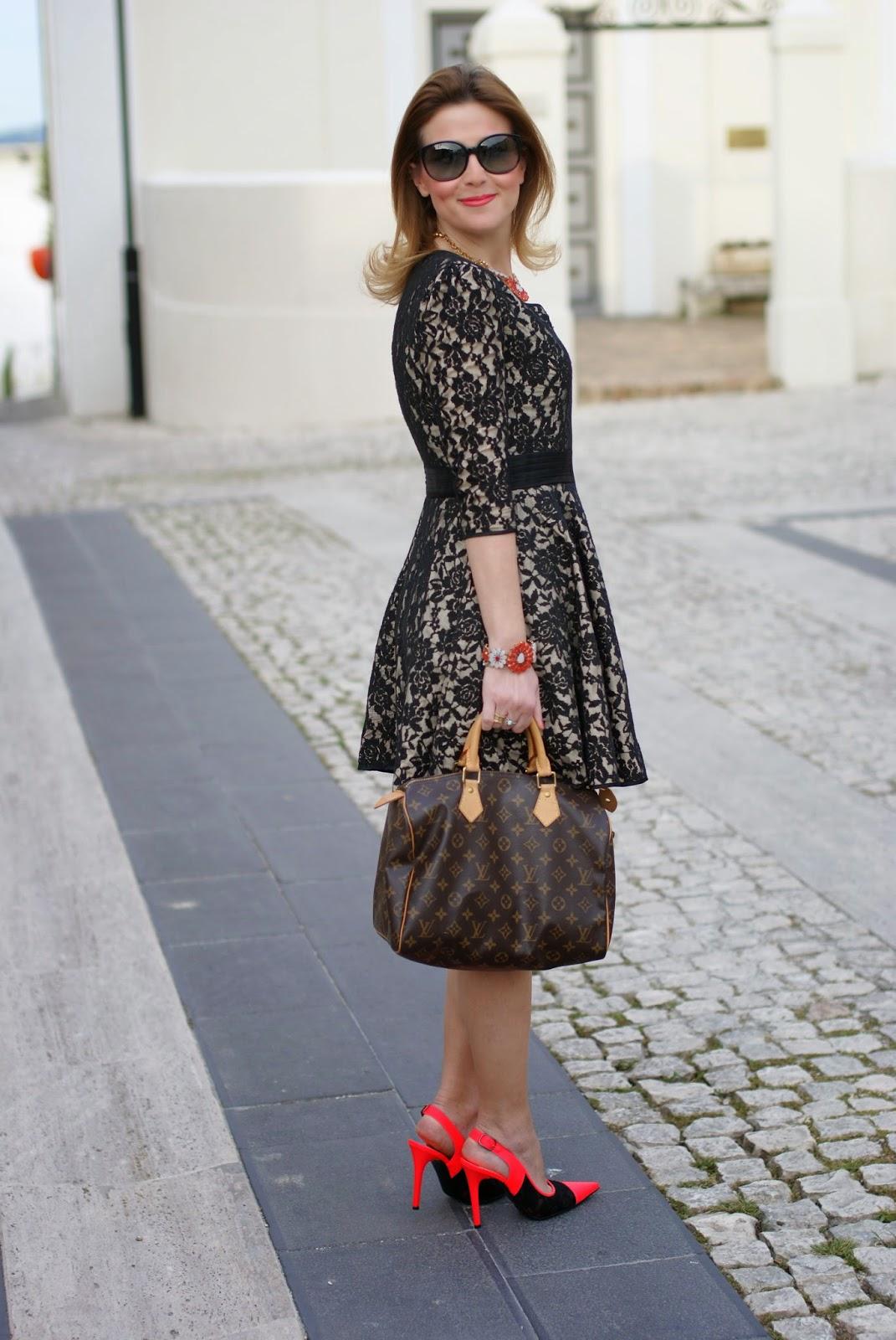 Blackfive dress, lace dress, Louis Vuitton speedy 30, Nando Muzi heels, Fashion and Cookies, fashion blogger