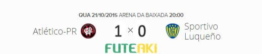 O placar de Atlético-PR 1x0 Sportivo Luqueño pelas quartas de final da Copa Sul-Americana 2015