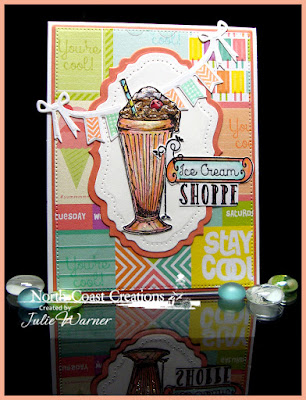 North Coast Creations Stamp sets: Ice Cream Shoppe, Our Daily Bread Designs Custom Dies: Vintage Labels, Vintage Flourish Pattern, Pennant Swag, Pennant Alphabet, Flourished Star Pattern
