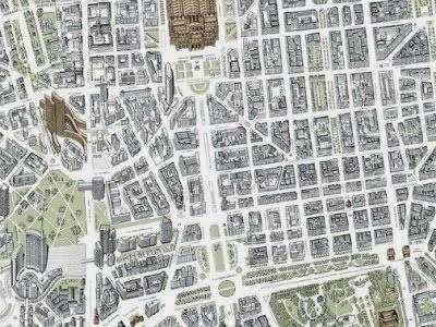 Il recente disegno prospettico di Milano entro la Cerchia dei Navigli, proposto da Giovanni Dradi