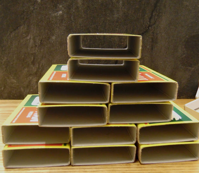 Step 2 - Stack and glue the matchboxes