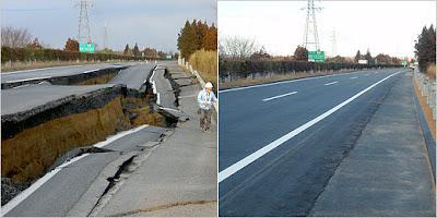 Estrada destruída pelo tsunami de 2011 no Japão