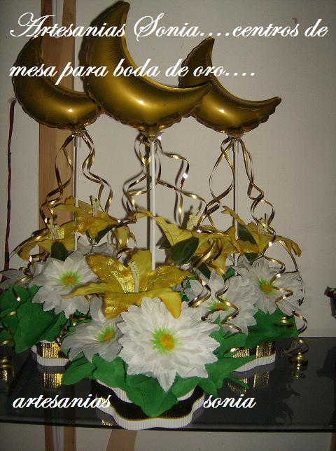 Artesanias sonia centro de mesa para bodas de oro - Centros de boda ...