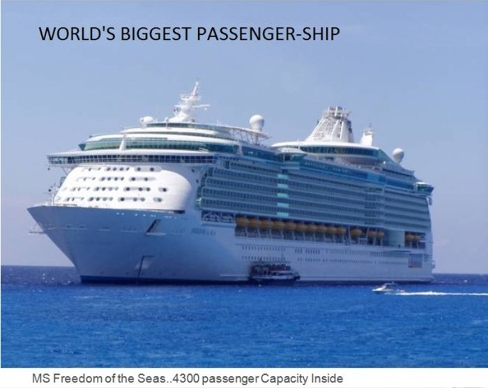 The world's biggest passenger ship is MS Freedom of the Seas. It can carry 4300 passenger, world records, biggest passenger ship