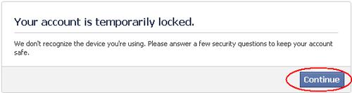 Akun Facebook Dikunci Sementara