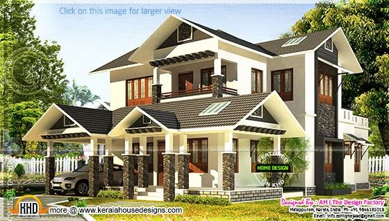 Beautiful sloping roof house