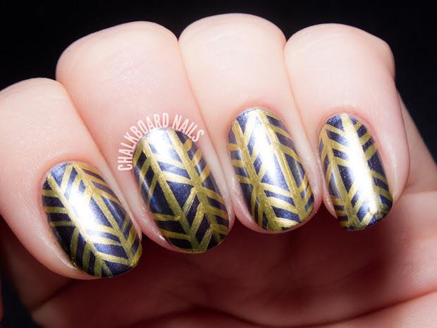 metallic herringbone nail art