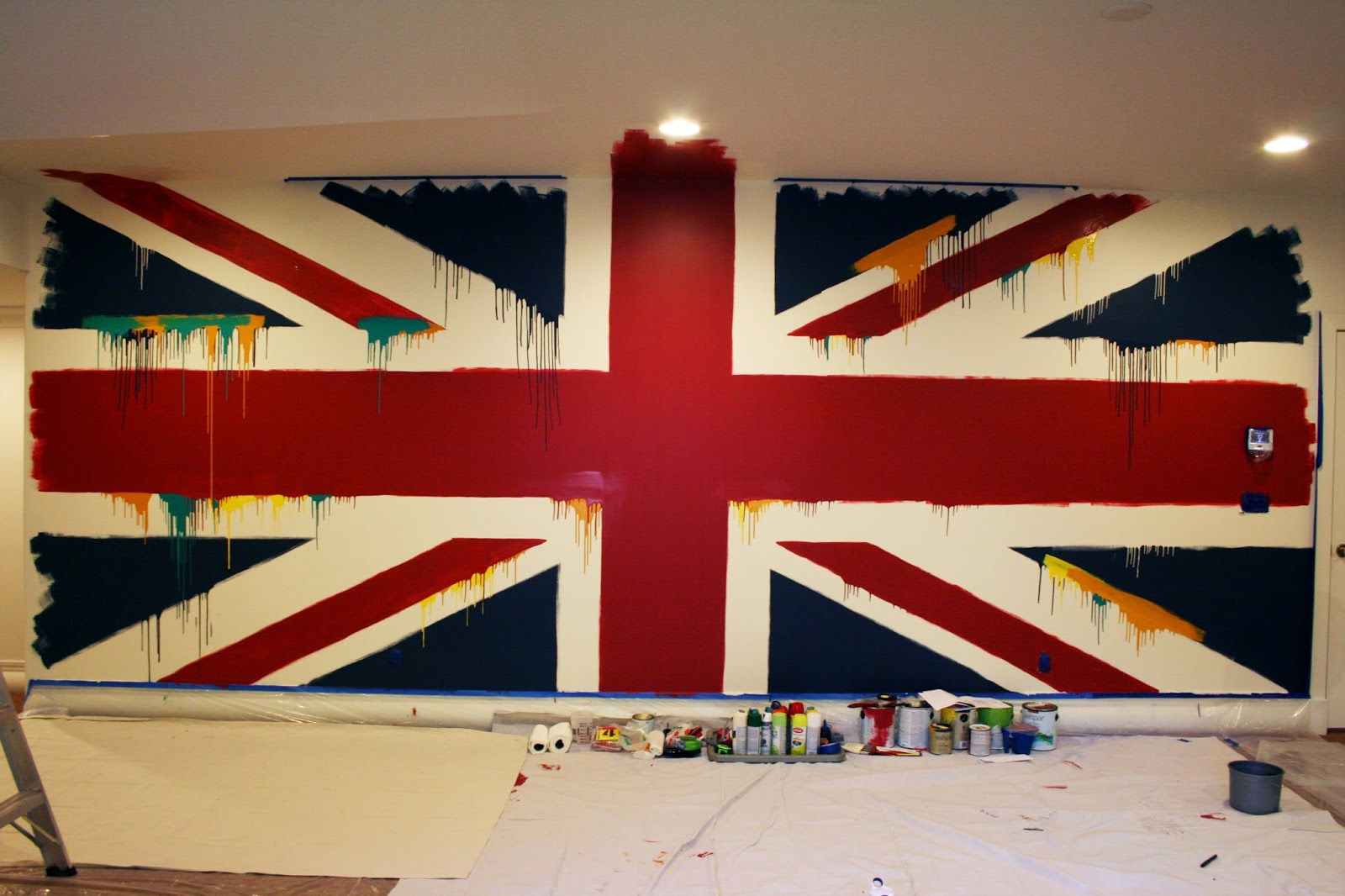 the Beatles Union Jack Painted Wall Mural