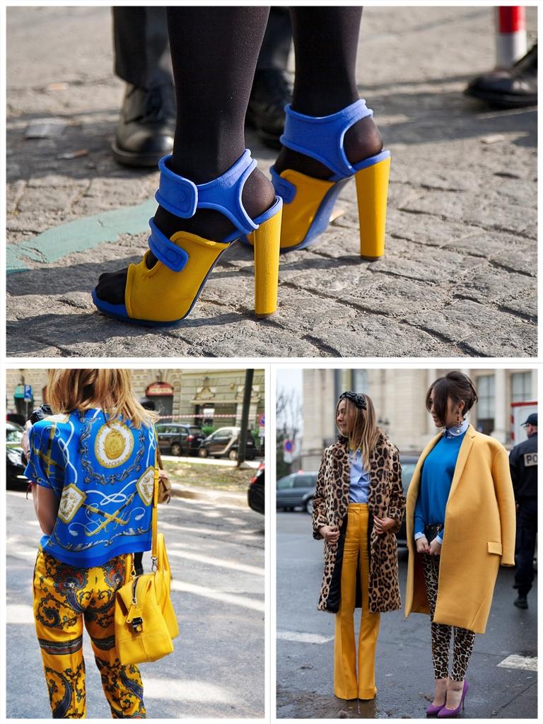 zapatos azul y amarillo