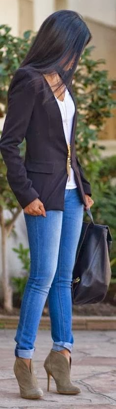 Stylish Outfit - Black Blazer and White T-shirt, Jeans & Tan Boots