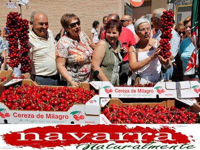 """""""Navarra  Naturalmente [+]"""", siempre ha tenido buena fama por la calidad y variedad de sus verduras  Ciertamente la gastronomía de navarra naturalmente, es exquisita, como así lo reconocen los más afamados cocineros españoles.   Pero además de las verduras y otros productos gastronómicos, en Navarra también se producen otros productos excelentes, como las Cerezas de Milagro.   Este pueblo de la ribera, celebra todos los años su fiesta de la cereza.   Este año se va a celebrar el próximo  domingo 14 de Junio de 2015."""