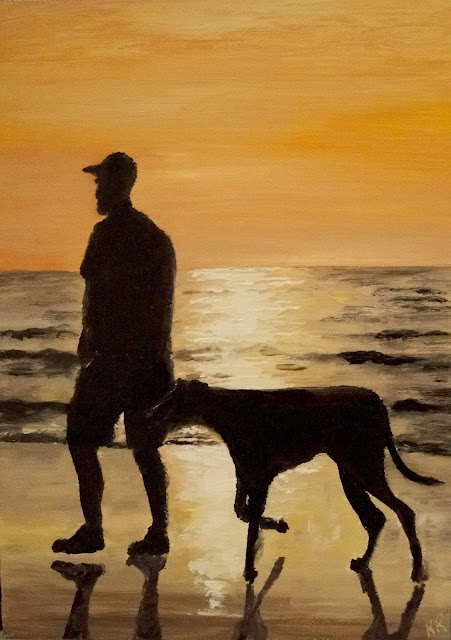 man walkking dog on beach against the sunset, an oil painting, dog painting