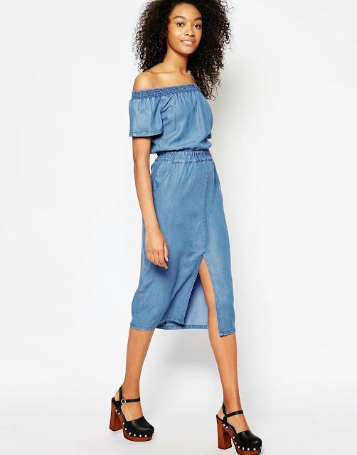 off shoulder denim dress