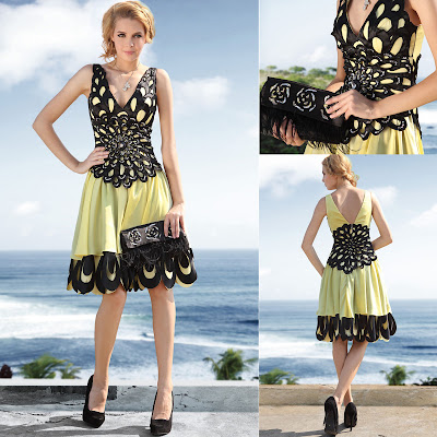 Black and Daffodil V-Neck Knee Length Dress