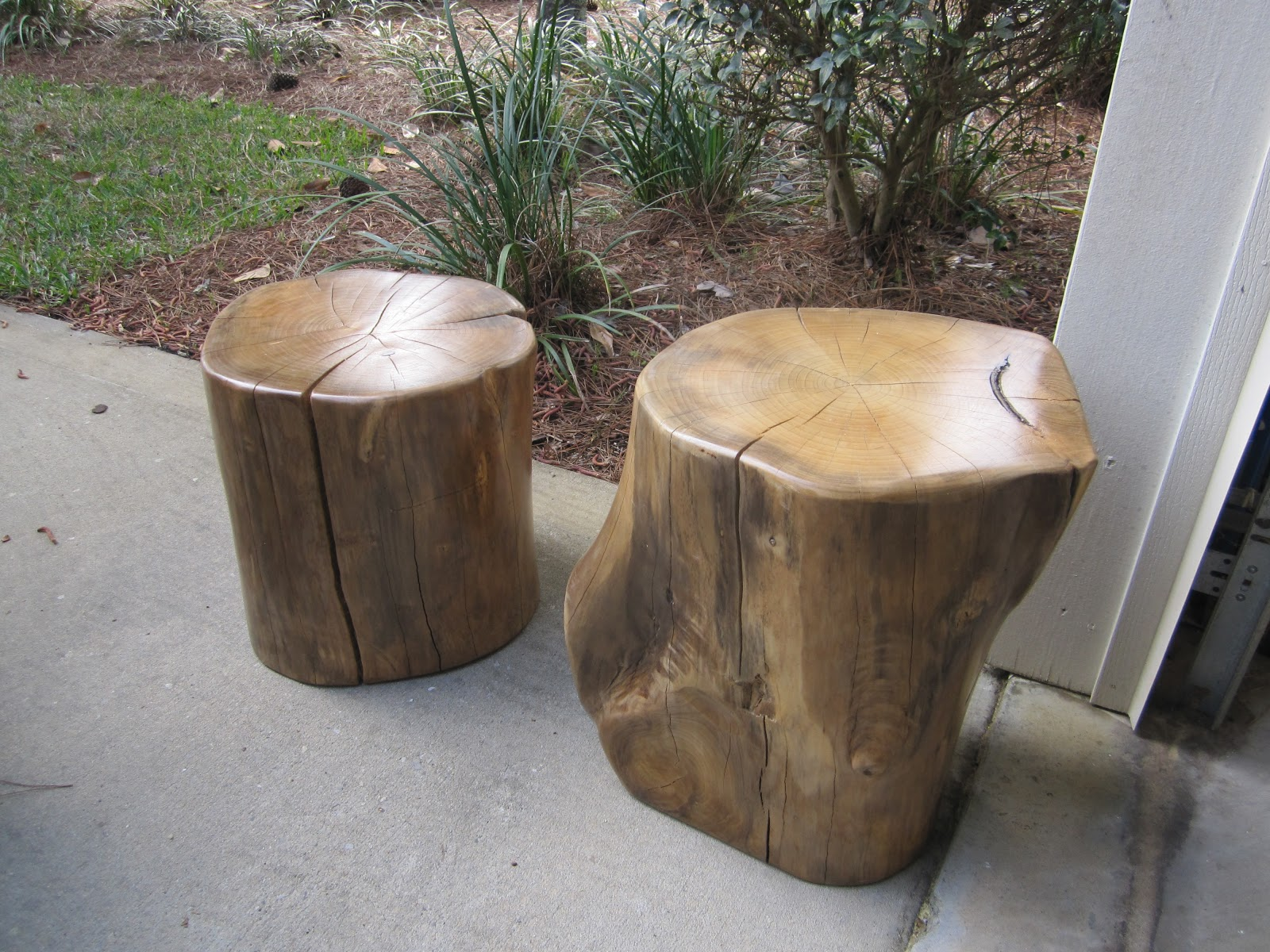 Natural creations reclaimed wood stump tables stools for Stump furniture making