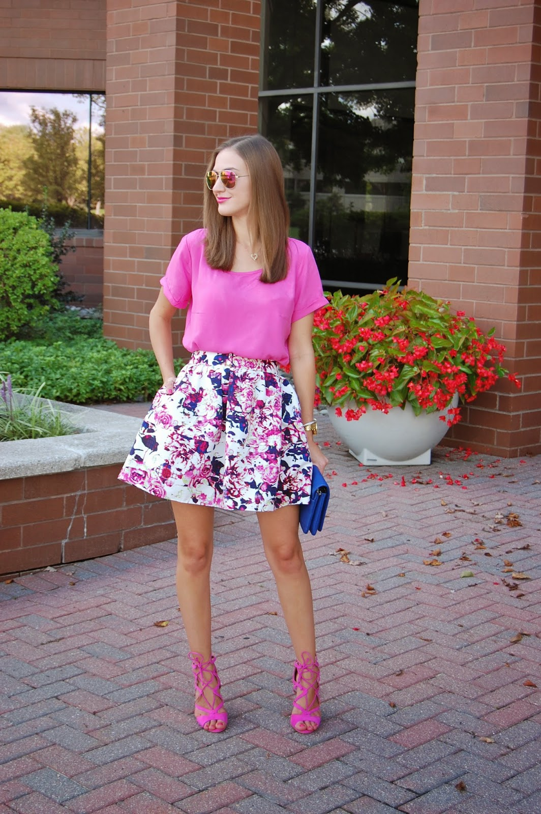 Wearing Trixxi Girl for Copper Key Dillard Exclusive, Express Floral Plaid High Waisted Full Skirt