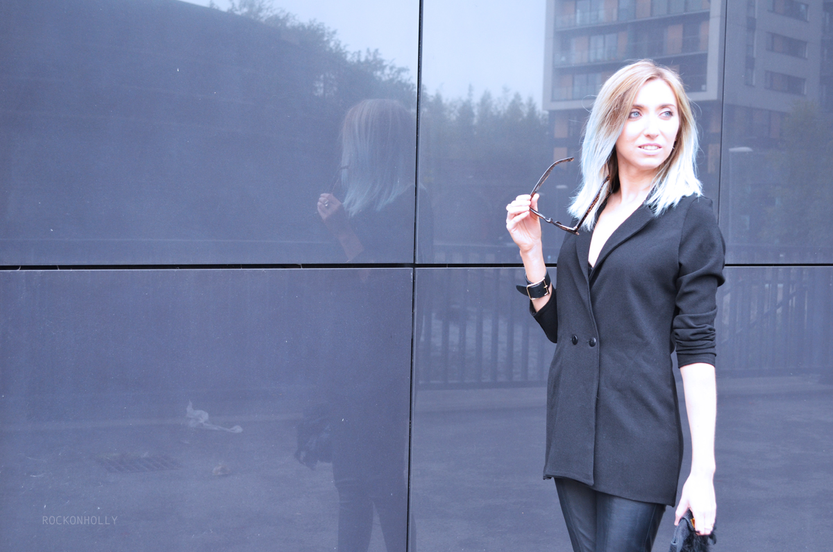 Black Boohoo Blazer and Leather Trousers