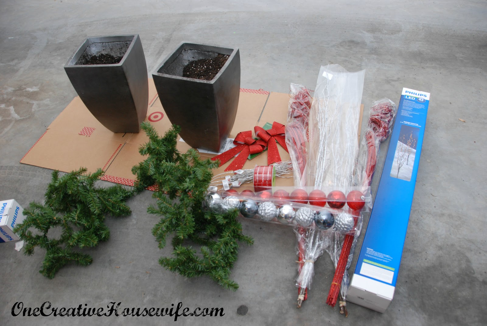 monday december 3 2012 - Decorating Front Porch Urns For Christmas