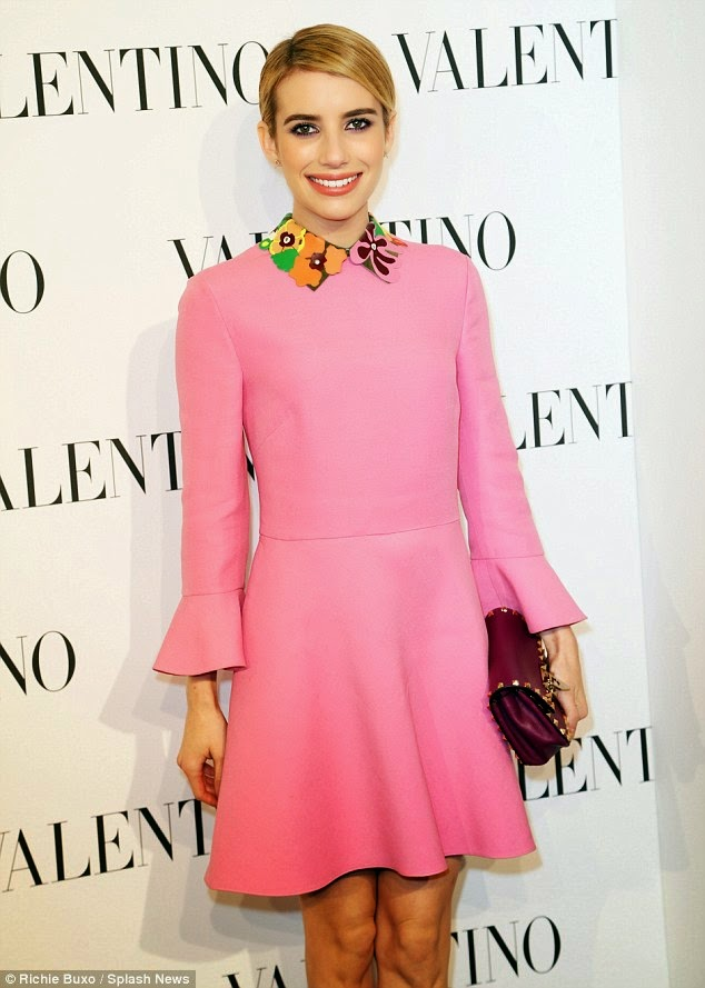Emma Roberts goes mod at the Valentino Haute Couture fashion show