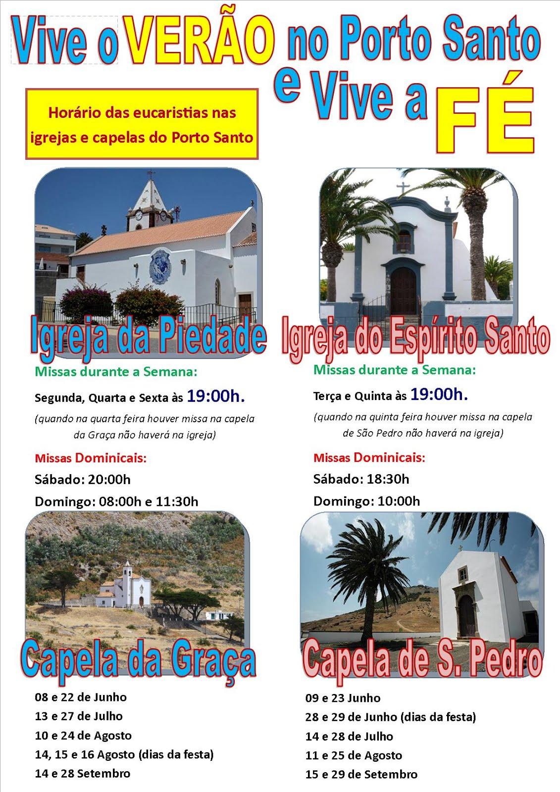 Horário das Eucaristias no Porto Santo