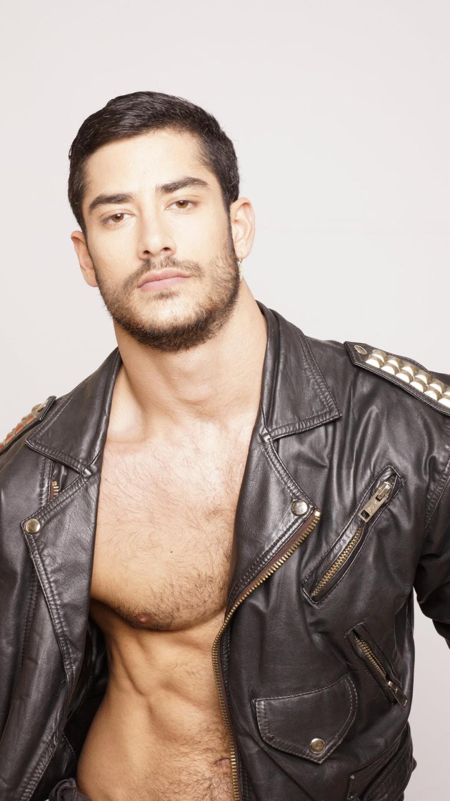 Hairy chest leather jacket