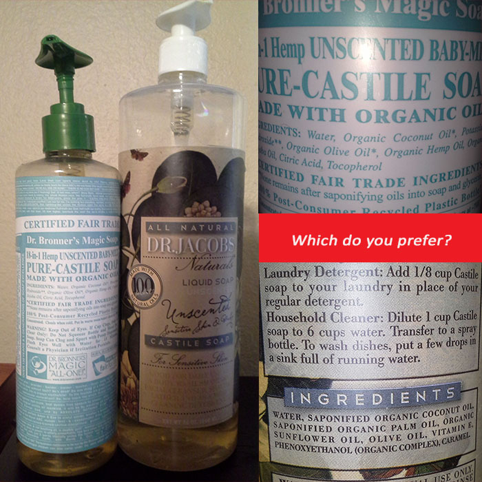 scent free savvy life dr bronner 39 s castile soap vs dr jacobs naturals. Black Bedroom Furniture Sets. Home Design Ideas