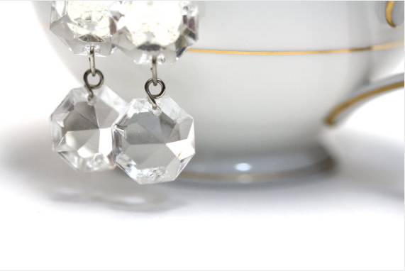 Glass Chandelier earrings made from actual chandeliers by ChatterBlossom