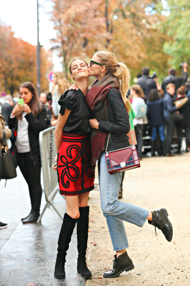 Kremena Otashliska and Sasha Luss after Chanel, Paris, October 2015