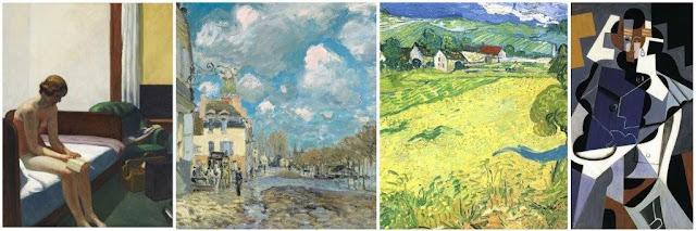 Museo Thyssen-Bornemisza de Madrid - Habitación de hotel, Edward Hopper - La inundación en Pont-Marly, Alfred Sisley - Les Vessenots en Auvers, Vincent van Gogh - Mujer sentada, Juan Gris