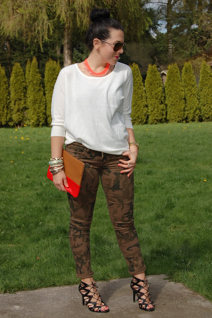 Camouflage skinny jeans, Gap clutch, Prabal Gurung for Target cage heels