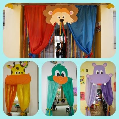 Falando da educa o ideias de portas decoradas para sala for Cortinas para aulas