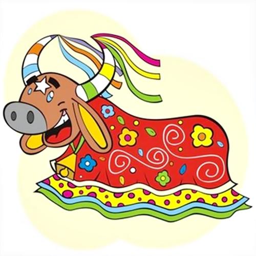 Desenho Folclore Bumba meu boi colorido